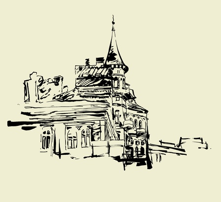 historical building: sketch hand drawing artistic picture of Kiev historical building
