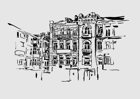 ink sketch: schizzo disegno foto mano artistica di edificio storico di Kiev