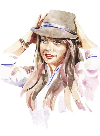 watercolor painting: watercolor portrait of young women with a hat Illustration