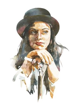 watercolour paper: watercolor portrait of women in a hat
