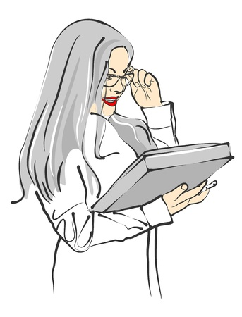 portrait of beautiful businesswoman in glasses with folder Stock Vector - 13251440