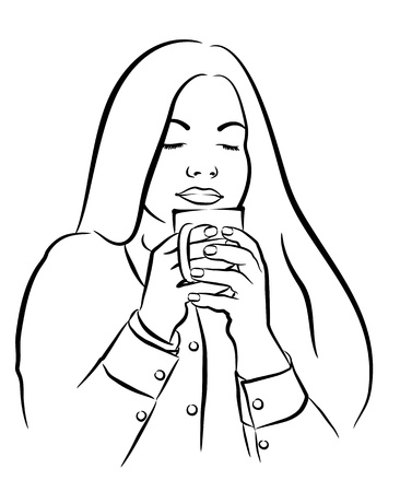 beautiful young woman with tea, coffee cup Stock Vector - 13251435
