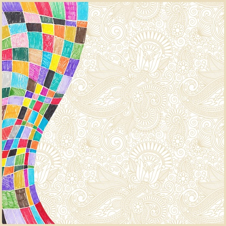 crayon drawing: doodle marker drawing abstract background design Illustration