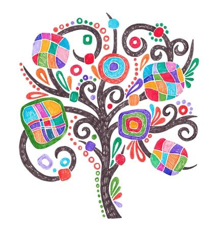 jelzÅ: doodle marker rajz díszes fa Illusztráció