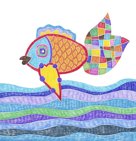 crayon: doodle marker drawing of fish and water