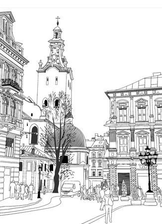 old town: sketch vector illustration of Lviv historical building, Ukraine