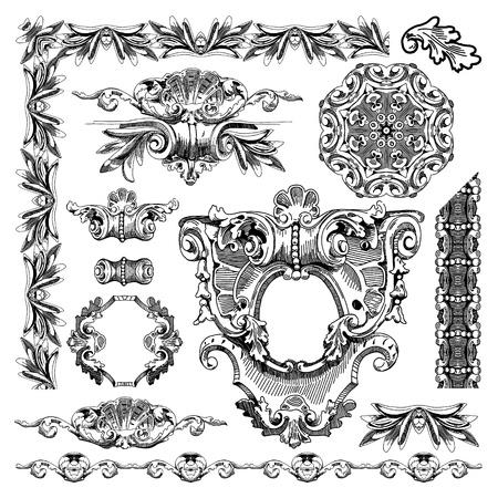 baroque: Por se�alar los elementos ornamentales de �poca boceto del dise�o del edificio hist�rico de Lviv, Ucrania Vector conjunto los elementos caligr�ficos del dise�o y la decoraci�n de la p�gina Vectores