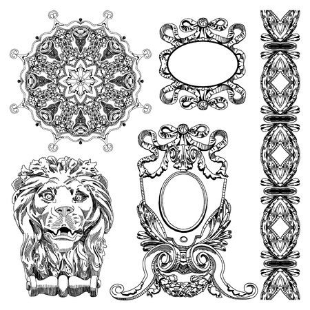 page decoration: hand draw vintage sketch ornamental design element of Lviv historical building, Ukraine  Vector set  calligraphic design elements and page decoration
