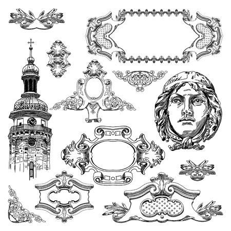 page decoration: hand draw vintage sketch ornamental design element of Lviv historical building, Ukraine  Vector set  calligraphic design elements and page decoration