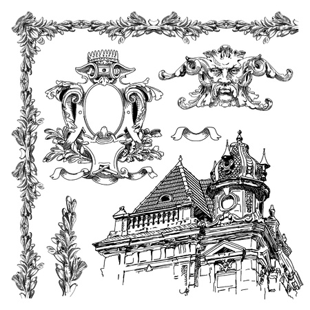 hand draw vintage sketch ornamental design element of Lviv historical building, Ukraine  Vector set  calligraphic design elements and page decoration  Vector