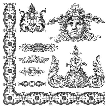 hand draw vintage sketch ornamental design element of Lviv historical building, Ukraine  Vector set  calligraphic design elements and page decoration Stock Vector - 13255329