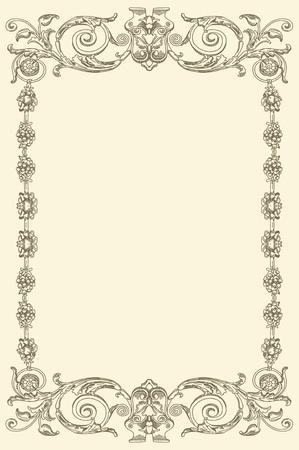 виньетка: старинные классические старые конструкции рамы Иллюстрация