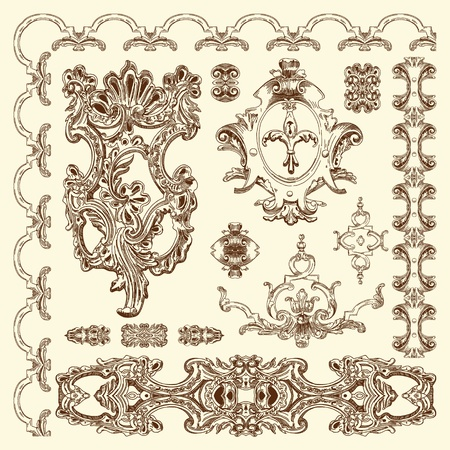 baroque pattern: hand draw vintage sketch ornamental design element of Lviv historical building, Ukraine calligraphic design elements and page decoration  Illustration