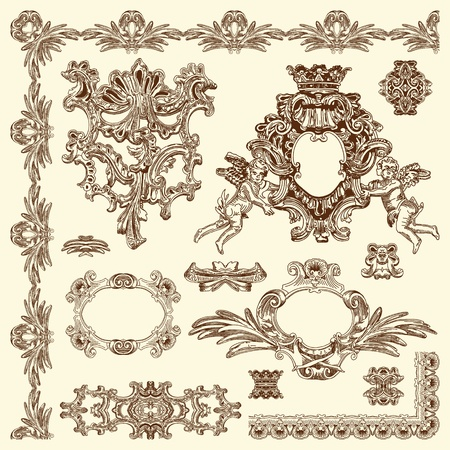 baroque: Dibujar a mano boceto �poca elemento de dise�o ornamental de edificio hist�rico de Lviv, Ucrania elementos caligr�ficos de dise�o y decoraci�n de la p�gina