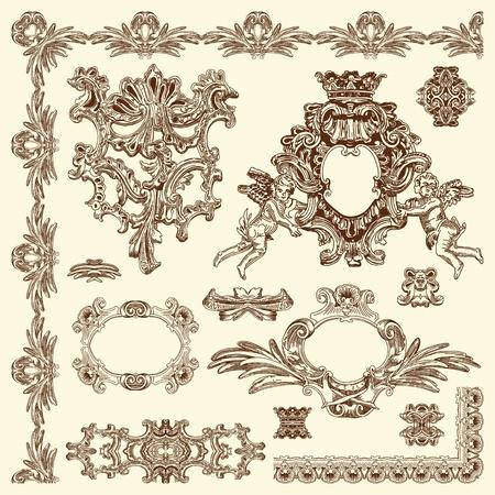 baroque frame: hand draw vintage sketch ornamental design element of Lviv historical building, Ukraine calligraphic design elements and page decoration  Illustration