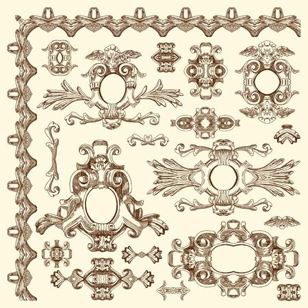 baroque ornament: hand draw vintage sketch ornamental design element of Lviv historical building, Ukraine  Vector set  calligraphic design elements and page decoration