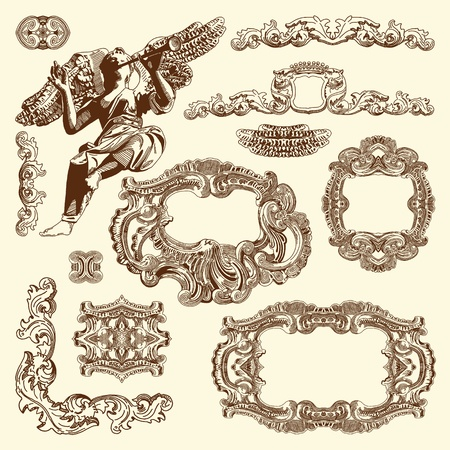 typographic: hand draw vintage sketch ornamental design element of Lviv historical building, Ukraine  Vector set  calligraphic design elements and page decoration