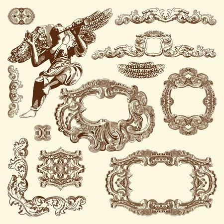 page decoration: hand te trekken vintage schets sier designelement van Lviv historisch gebouw, Oekraïne Vector set kalligrafische design elementen en pagina decoratie Stock Illustratie