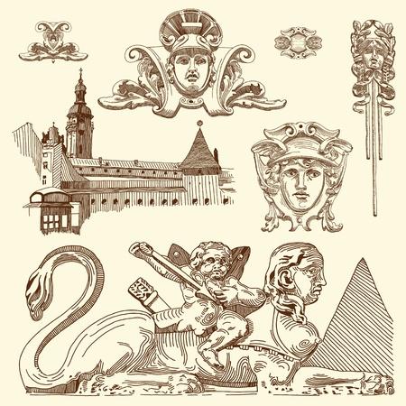 hand draw vintage sketch ornamental design element of Lviv historical building, Ukraine  Vector set  calligraphic design elements and page decoration Stock Vector - 13441351