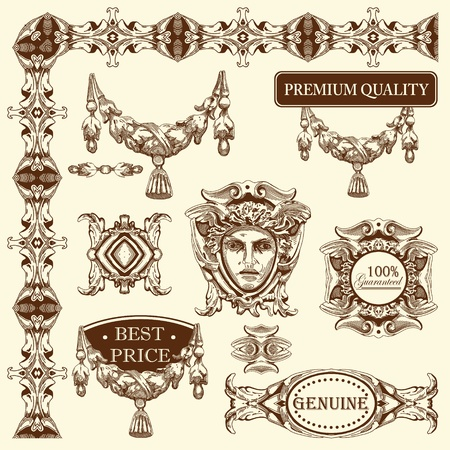 hand draw vintage sketch ornamental design element of Lviv historical building, Ukraine  Vector set  calligraphic design elements and page decoration  Stock Vector - 13441329
