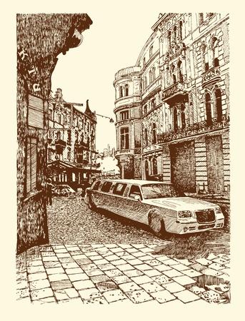 drawing of Lviv historical building, Ukraine Vector