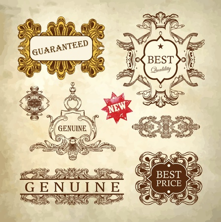 Hand draw ornate royal luxury premium quality and guarantee label design in baroque style  design element of Lviv historical building, Ukraine   Vector