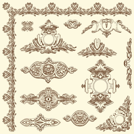 hand draw vintage sketch ornamental design element of Lviv historical building, Ukraine  Vector set  calligraphic design elements and page decoration  Stock Vector - 13441380