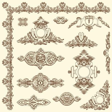 hand draw vintage sketch ornamental design element of Lviv historical building, Ukraine  Vector set  calligraphic design elements and page decoration Stock Vector - 13441380