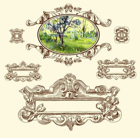 hand draw vintage sketch ornamental design element of Lviv historical building, Ukraine  Vector set  calligraphic design elements and page decoration with my painting landscape element  Stock Vector - 13441355