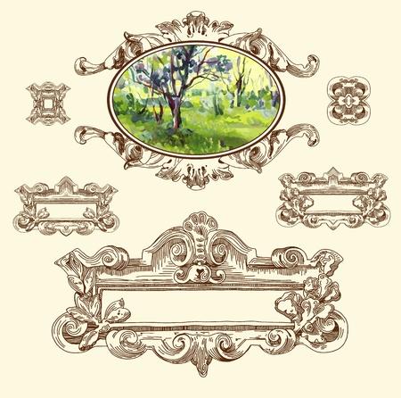 baroque: Por se�alar los elementos ornamentales de �poca boceto del dise�o del edificio hist�rico de Lviv, Ucrania Vector conjunto los elementos caligr�ficos del dise�o y la decoraci�n de la p�gina con mi elemento del paisaje pintura
