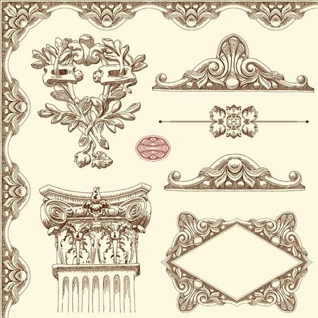 barocco: disegnare a mano d'epoca elemento di design ornamentale disegno di edificio storico Lviv, Ucraina Vector set elementi di design calligrafica e decorazione pagina