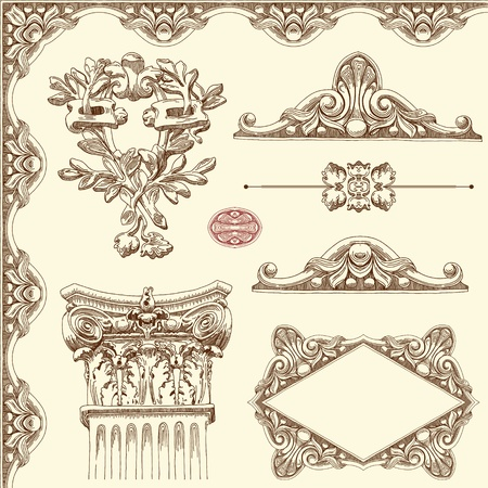 baroque pattern: hand draw vintage sketch ornamental design element of Lviv historical building, Ukraine  Vector set  calligraphic design elements and page decoration