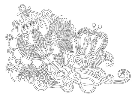 ukrainian: original hand draw line art ornate flower design  Ukrainian traditional style  Illustration