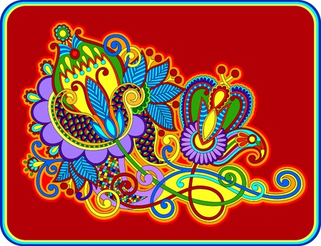 embellishments: original hand draw line art ornate flower design  Ukrainian traditional style  Illustration