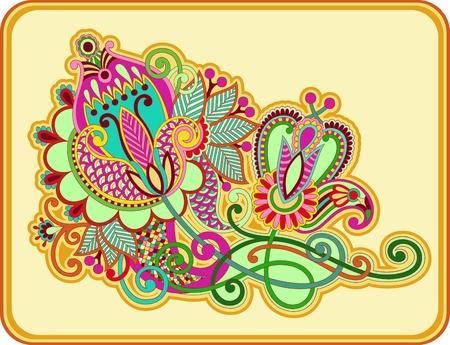original hand draw line art ornate flower design  Ukrainian traditional style  Illustration