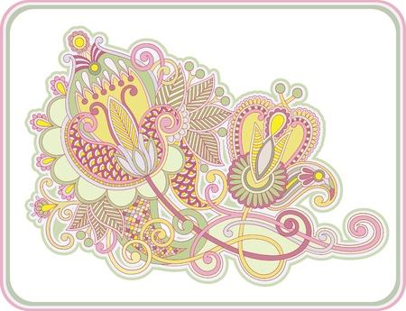 original hand draw line art ornate flower design  Ukrainian traditional style Stock Vector - 13440256