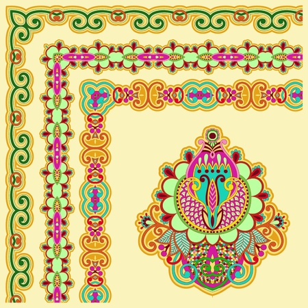 floral vintage frame design  Vector set  All components are easy editable Vector