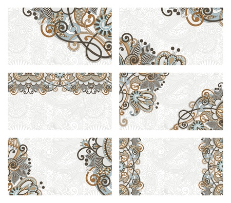 visiting: vector floral business card set