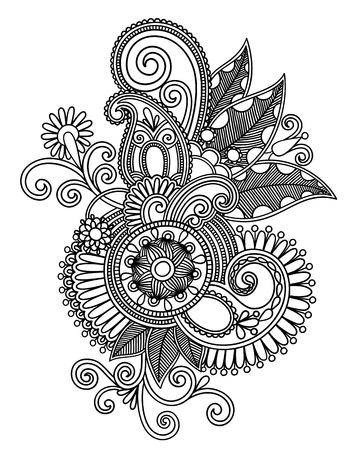 hindi: Mano draw line art ornato di fiori di progettazione Vettoriali