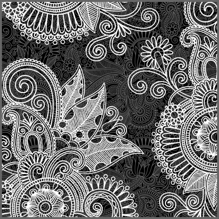 white with black: black and white floral pattern  Illustration
