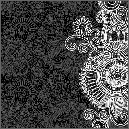black and white floral pattern  Stock Vector - 13753801