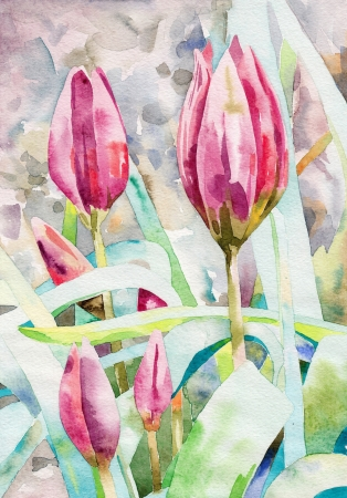 original watercolor painting spring flower  I, the Artist, owns the copyright  Stock Photo - 13756705