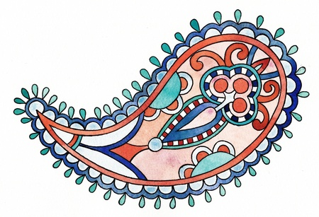 ethnic watercolor paisley element   I, the Artist, owns the copyright Stock Photo - 13756711