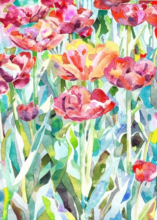 impressionism: original watercolor painting of summer, spring flower  I, the Artist, owns the copyright  Stock Photo