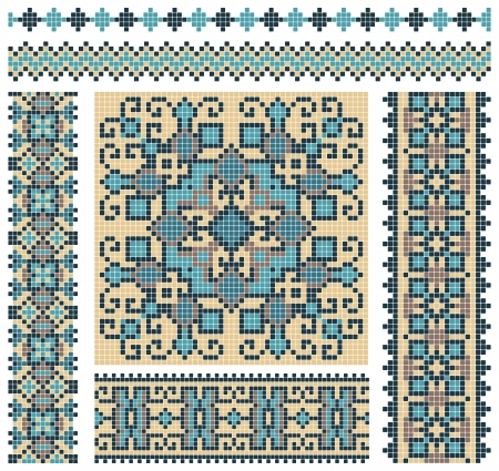 embroidered good like handmade cross-stitch ethnic Ukraine pattern design  Stock Vector - 13762452