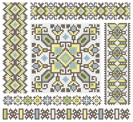 punto cruz: bordado a mano, como un buen punto de cruz patrón de diseño étnico de Ucrania Vectores