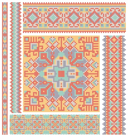 embroidered good like handmade cross-stitch ethnic Ukraine pattern design  Vector