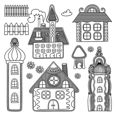 decorative house drawing set  Vector
