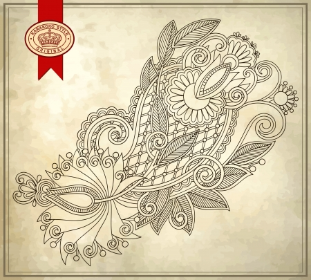 floral pattern on grunge background  Vector