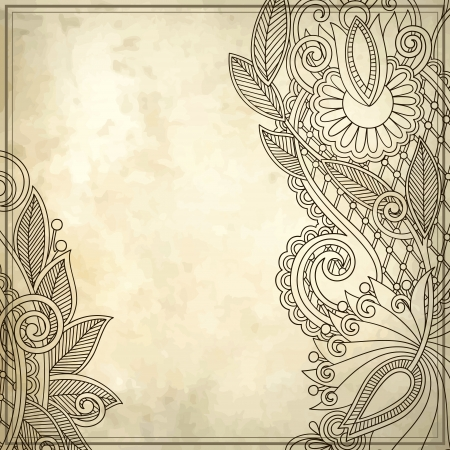 old, ink, art, leaf, card, note, blank, retro, frame, paper, style, royal, floral, flower, vector, modern, grungy, design, sketch, banner, grunge, branch, border, natural, graphic, drawing, texture, stylish, antique, vintage, pattern, ornament, brochure,  Stock Vector - 13766633